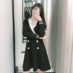 长袖针织连衣裙秋季女装2019新款收腰显瘦气质百搭法式复古裙子冬