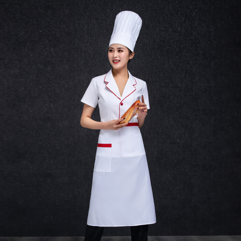 Bakery bakery West Bakery work clothes Baker uniform hotel kitchen summer short sleeved chef clothes framed work clothes