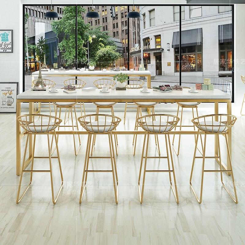 热卖出口咖啡厅吧台桌奶茶店大理石高脚酒吧北欧家用餐桌桌椅简约