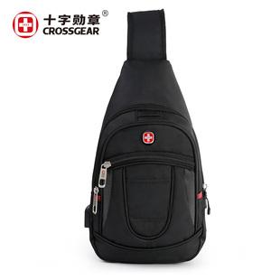 瑞士军刀胸包男士 单肩斜挎包便携随身运动包防盗手机腰包帆布包潮