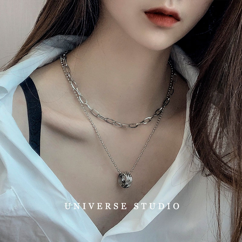 Weiyas same multi-layer hip-hop Ring Pendant Necklace titanium steel colorfast cool ring two piece set chain