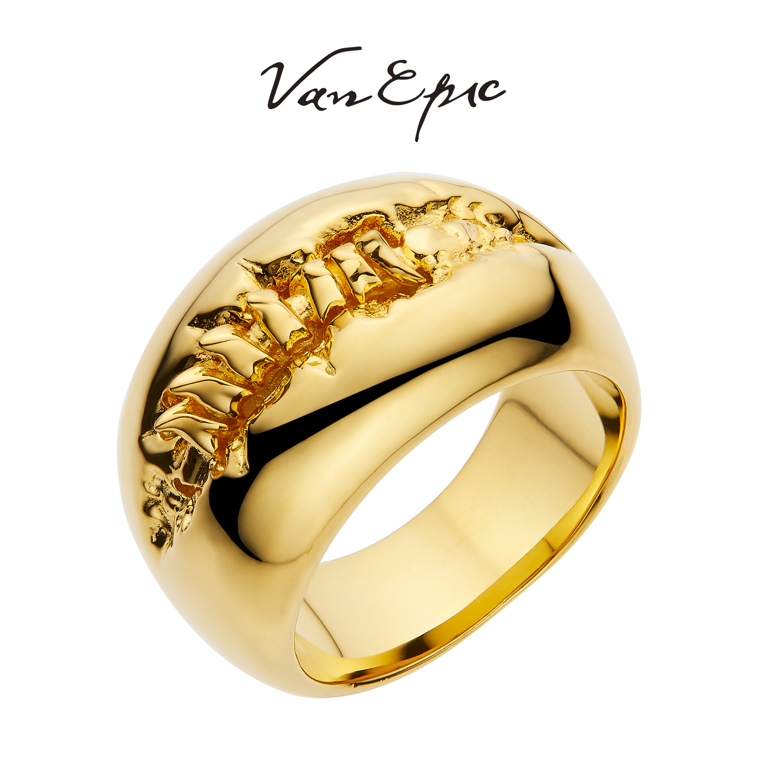Van epic lost spine mens and womens ring original design pure silver plated 24K gold creative personality