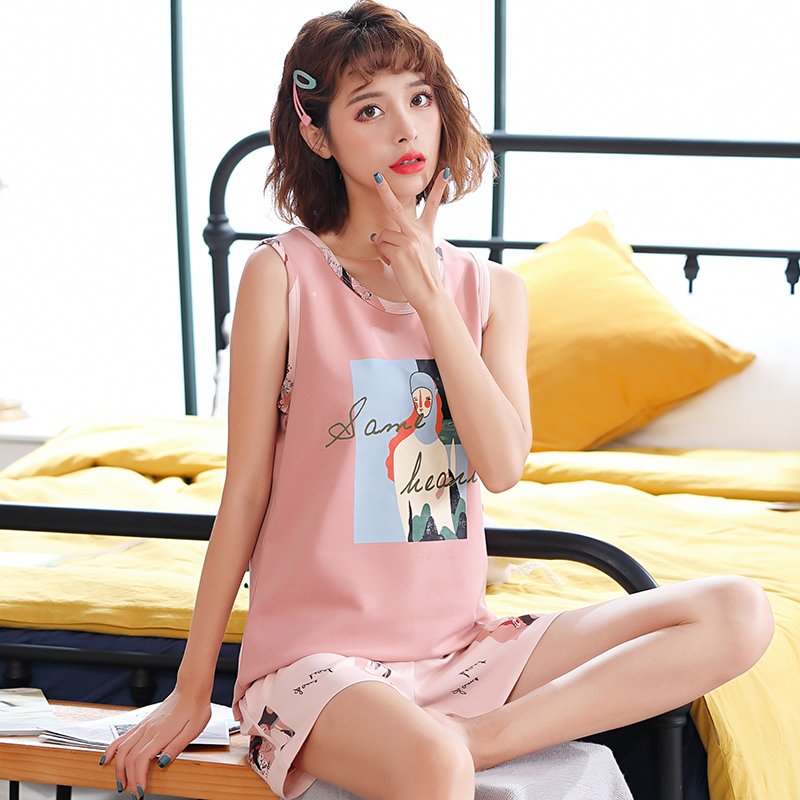 Pajamas women summer pure cotton thin loose student lovely sweet vest sleeveless shorts two sets home clothes