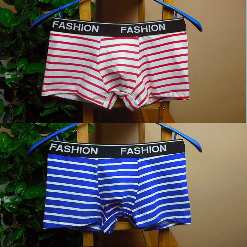 Mens underwear, mens boxers, pure cotton boxers, all cotton stripe, youth shorts, head, earth red personality