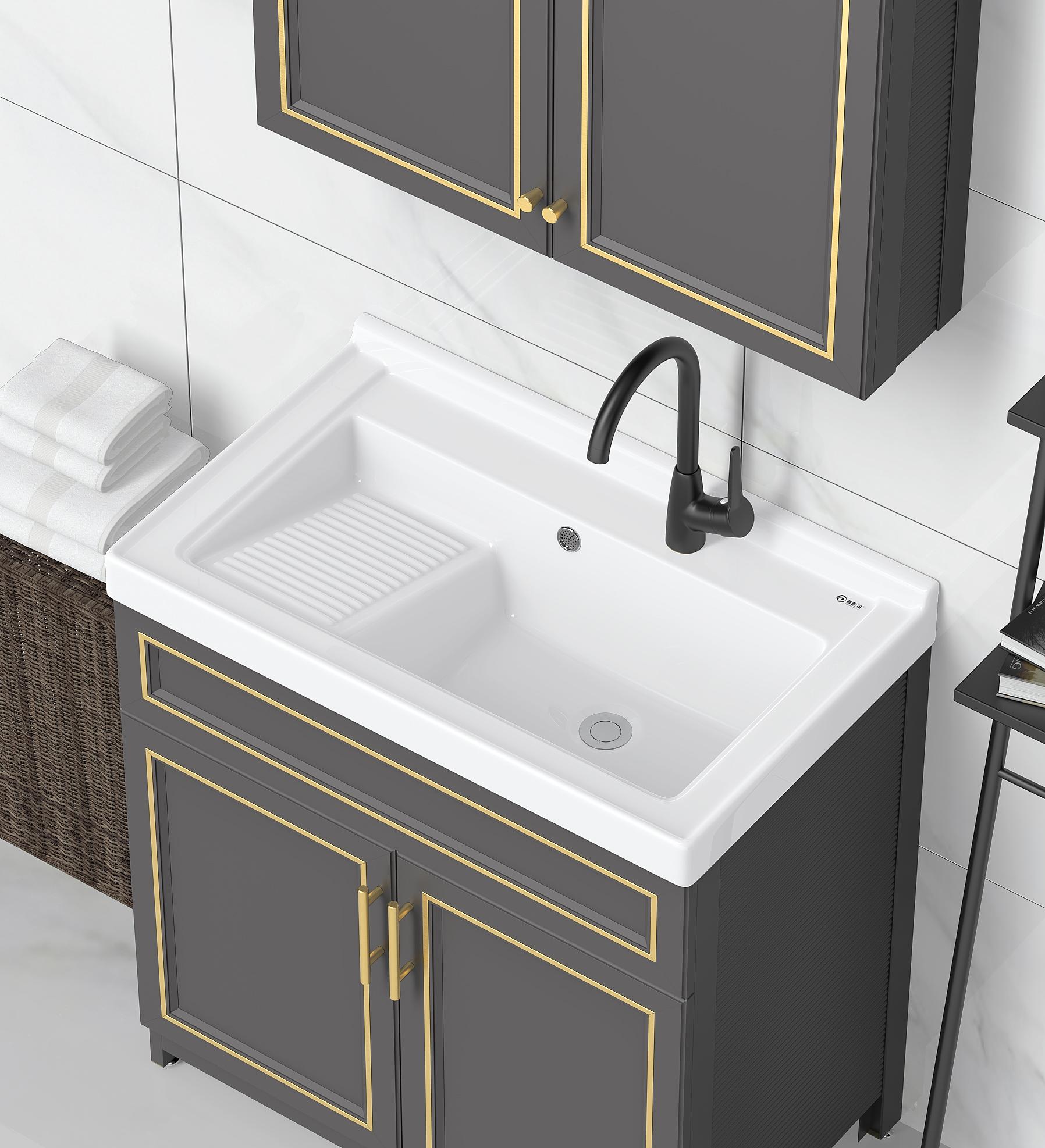 普耐尔阳台太空铝落地式组合洗衣柜一体陶瓷洗衣盆带搓板洗衣池