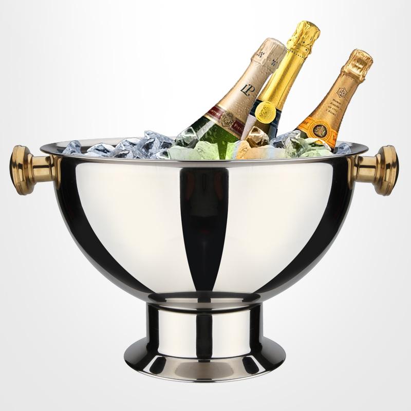 不锈钢大冰桶宴会香槟盆特大红酒冰粒桶宾至盆酒吧香槟桶冰镇器