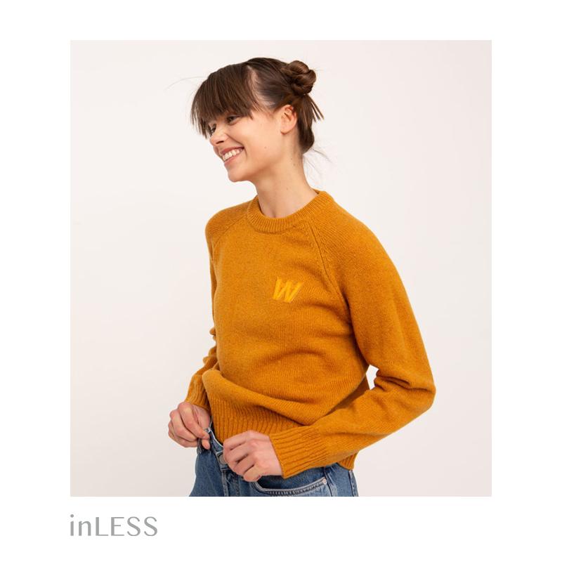 inLESS丨woodwood 雪兰毛羊毛圆领毛衣女纯色百搭针织衫丹麦品牌