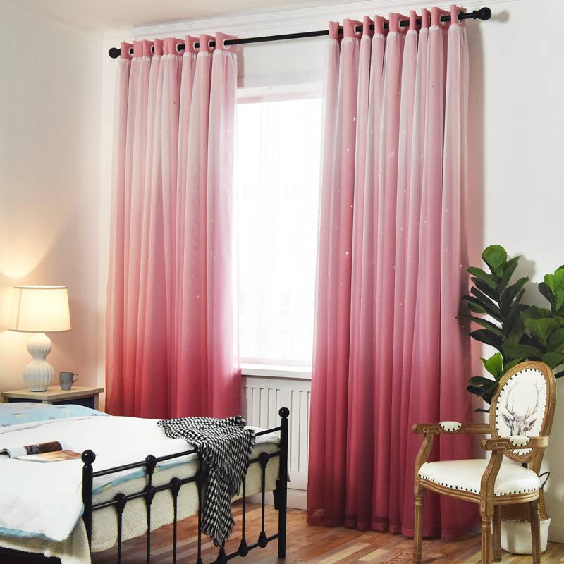 Nordic star simple fashion living room bedroom table shade gradient yarn cloth customized finished curtain
