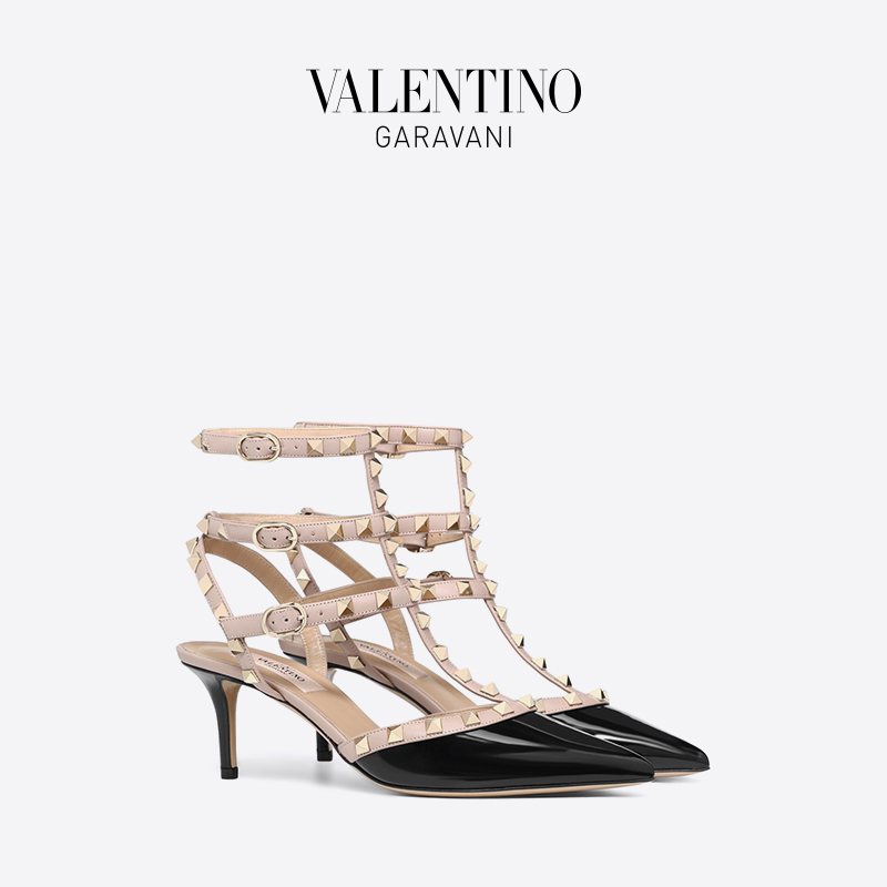 VALENTINO GARAVANI/Valentino ROCKSTUD patent leather laced rivet high heels