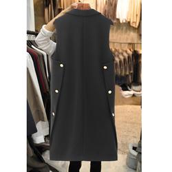 2020春秋装新款女装马夹中长款韩版黑色无袖修身多扣马甲西装外套