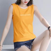 黄色无袖T恤宽松背心女夏短袖ins甜美打底内搭上衣女装2021新款潮