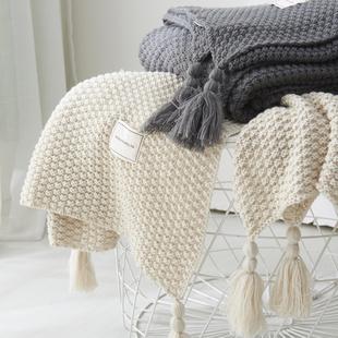 北欧流苏针织球毯毛线毯办公室空调午休毯披肩盖毯沙发休闲毯毛毯