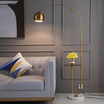 钓鱼落地灯北欧客厅卧室沙发床头简约创意轻奢大理石茶几落地台灯