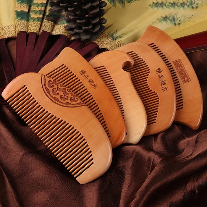 穿月桃木梳子檀木梳香整木实木刻字雕花节日礼物防静电送女神家用