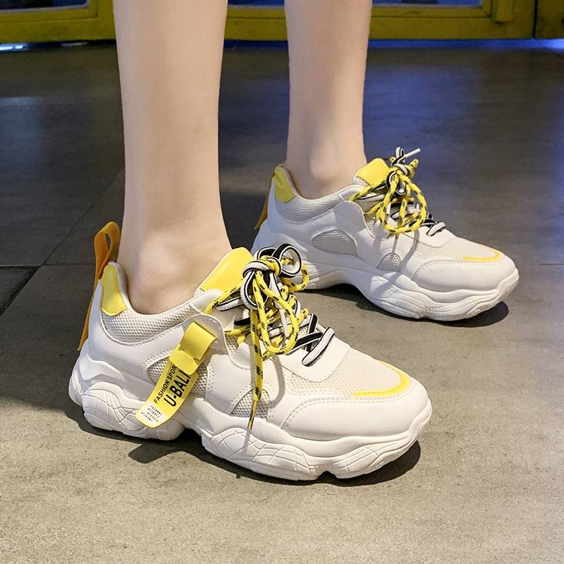 Official website Jordan tide white shoes womens spring and summer thick soled inner heightening shoes versatile yellow Lolita sports shoes dad shoes