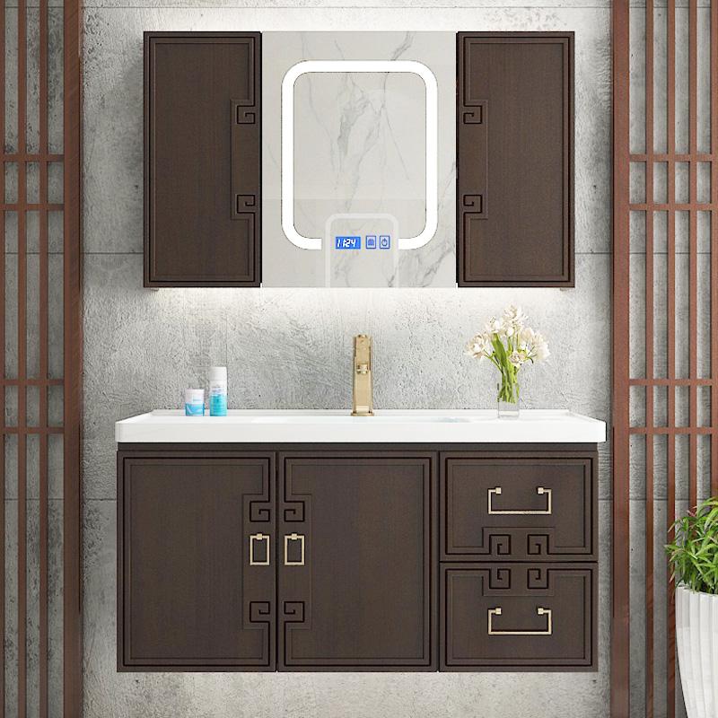 中式浴室柜新中式洗脸盆组合卫生间洗手台盆柜实木洗漱台卫浴柜图片