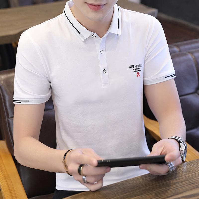 夏季保罗POLO衫翻领纯色t恤男短袖修身青年黑色韩版时尚打底衫潮