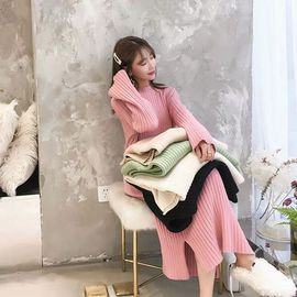 2020新款ol风穿搭套头毛衣女士中长款过膝韩版宽松打底针织连衣裙