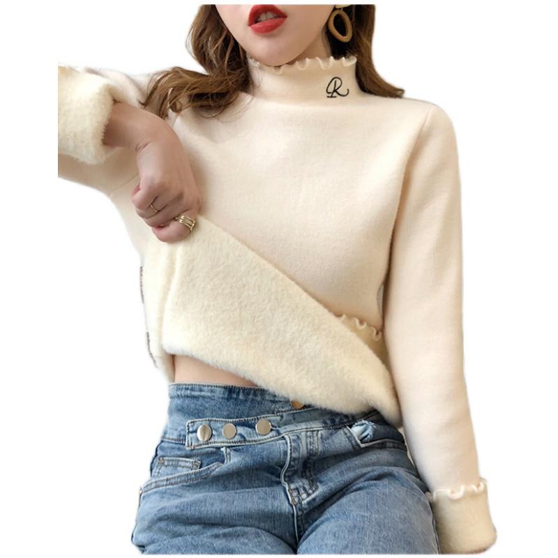2020秋冬新款一体绒毛衣女木耳边保暖针织打底衫加绒加厚内搭上衣