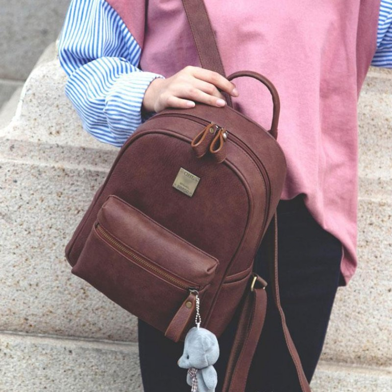 Bag 2019 new Korean frosted Leather Backpack womens bag retro college style schoolbag leisure travel backpack