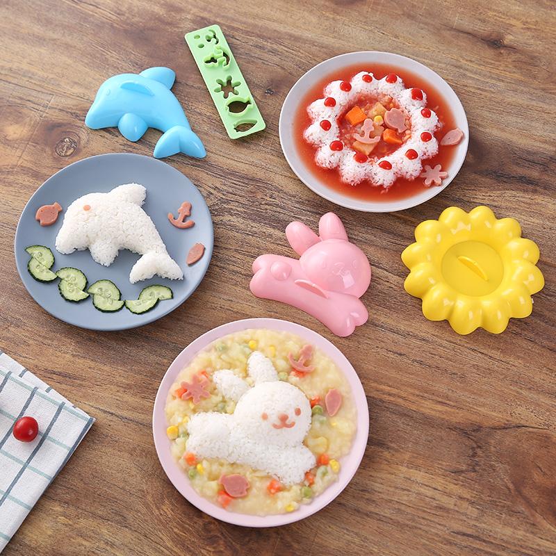 智途日式卡通饭团模具套装宝宝儿童可爱压饭神器送表情压花制作器