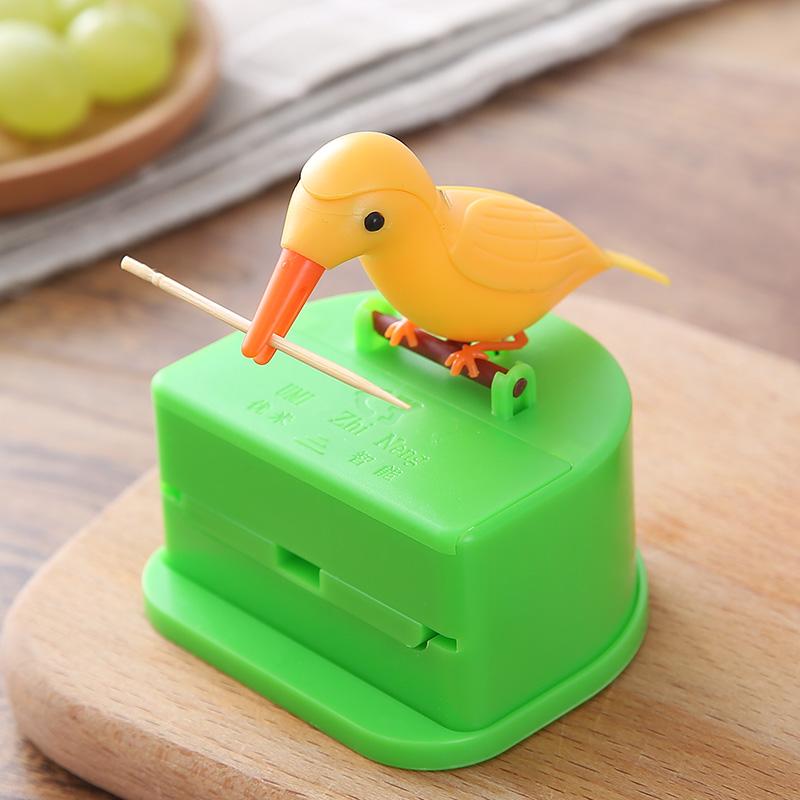 智途小鸟啄食创意自动弹出牙签罐