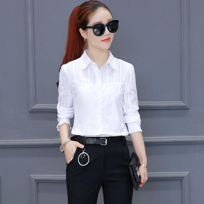 24【纯棉】夏季新款白衬衫女长袖韩版修身夏短袖衬衣百搭打底衫