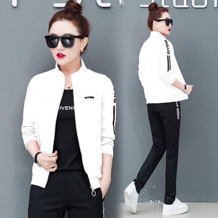 22春秋装女2019新款长袖外套休闲运动服韩版时尚宽松卫衣套装三件