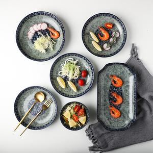 家用中国风釉下彩青花瓷餐具套装中式厨房复古陶瓷器盘碗碟子单个