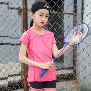 中大童新款户外跑步服儿童速干衣夏款运动套装短袖女童网球基础套