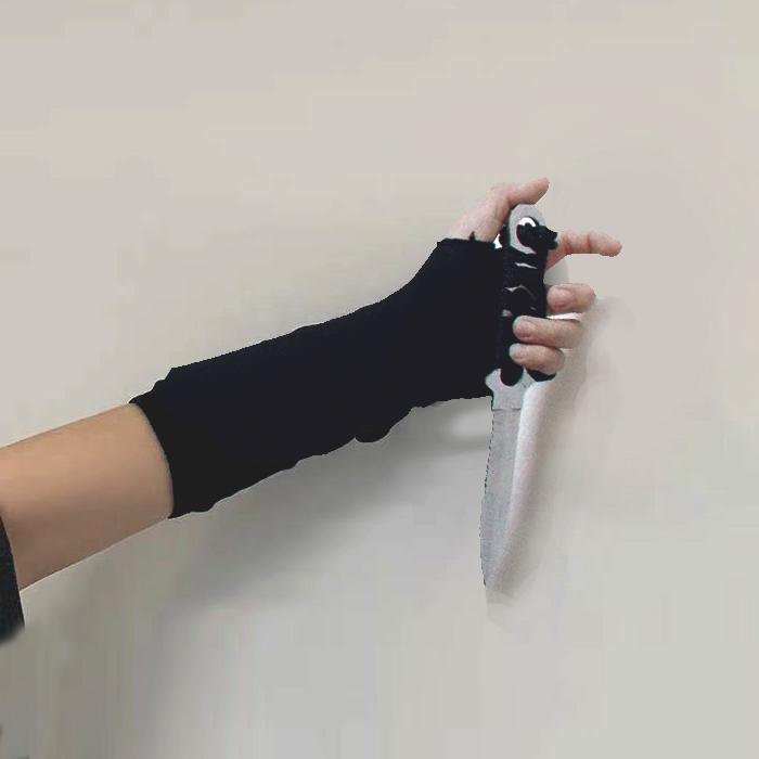 古着style:冬季INS原宿自制忍者穿指手套山本暗黑袖套男女19ss潮图片
