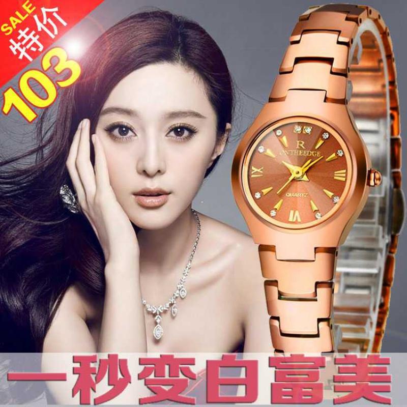 新款女生手表时装钢带表女士腕表玫瑰金女孩复古表精品时尚镶钻表