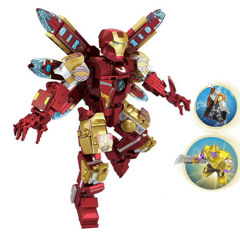 レゴとの互換性のあるアベンジャーズアイアンマン反浩克滅覇パズルパズルのおもちゃ戦争ロボット