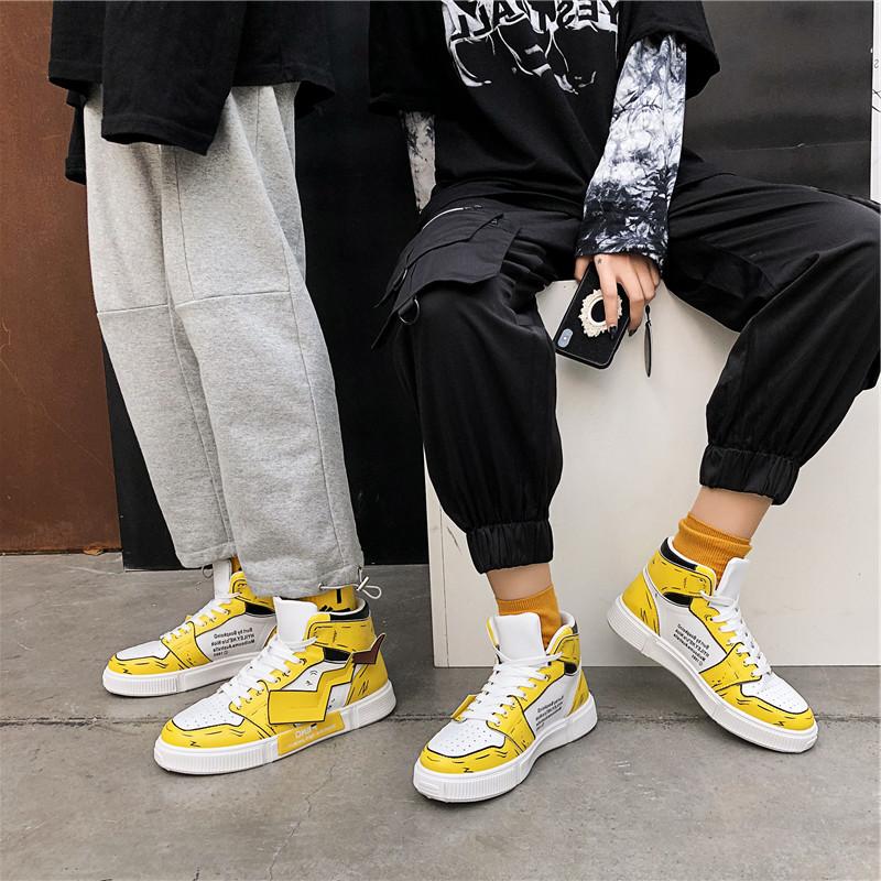 官方折扣aj女鞋皮卡丘鞋子韩版板鞋加绒高帮帆布鞋女2020冬季