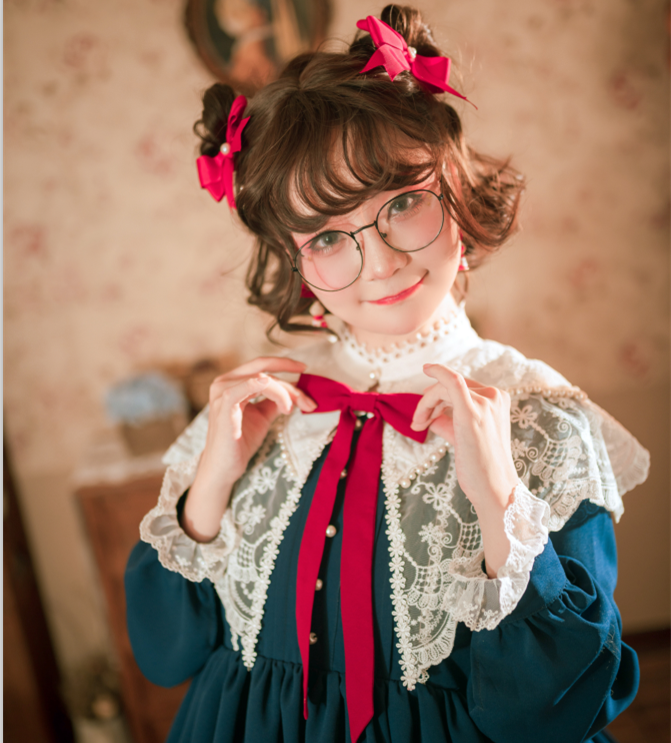 [in stock] original Lolita puff small high waisted spring and autumn winter OP + cloud shoulder collar elegant