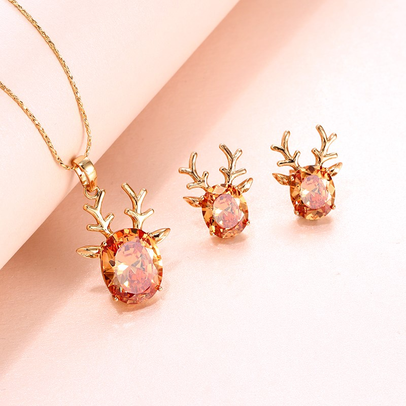 Xuping Necklace female clavicle chain Korean temperament personality versatile fawn Pendant Necklace Christmas Gift Earrings