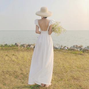 三亚旅游衣服棉麻沙滩裙白色复古露背长裙吊带连衣裙仙女裙度假