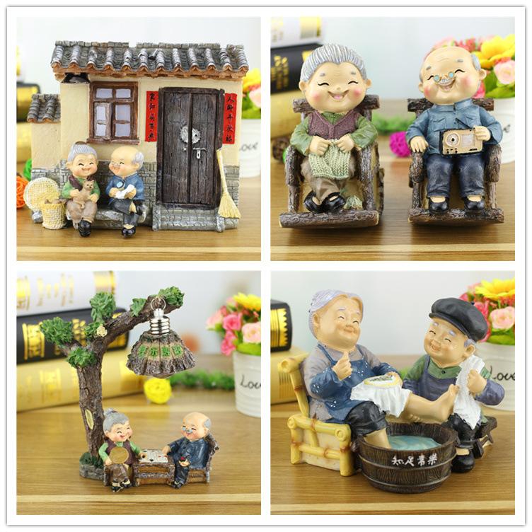 结婚礼物创意树脂工艺品老头老太太摆件家居装饰小夜灯可爱存钱罐