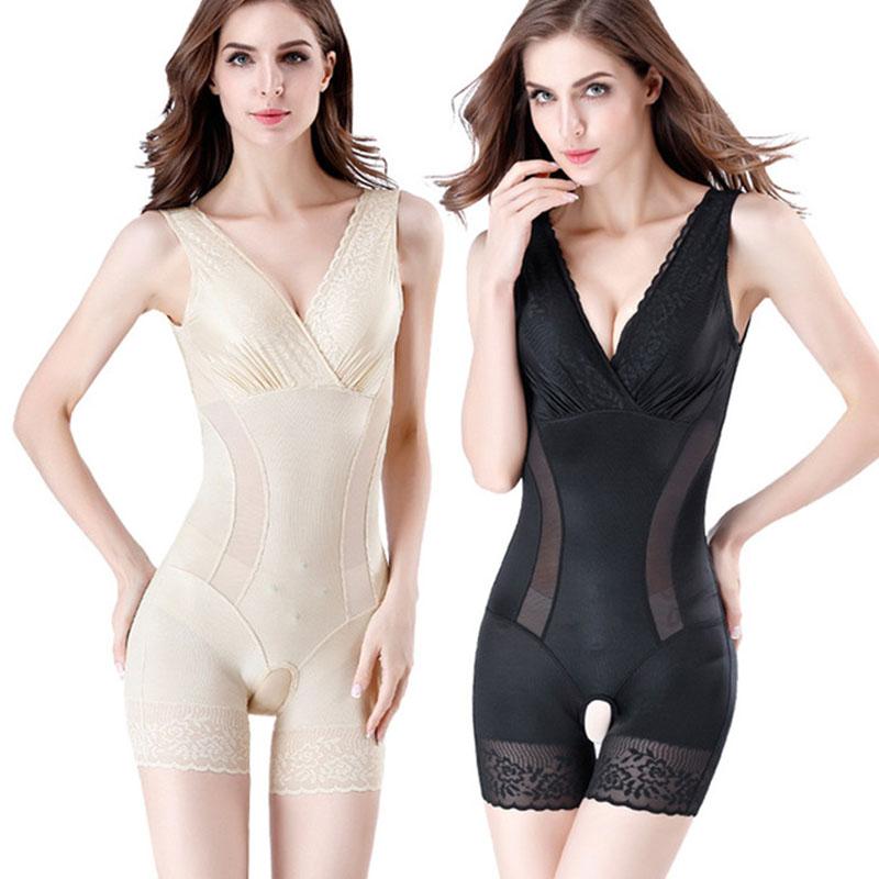 正品塑身衣女连体自带胸垫塑型内衣收腹束腰薄款美体紧身衣开裆款
