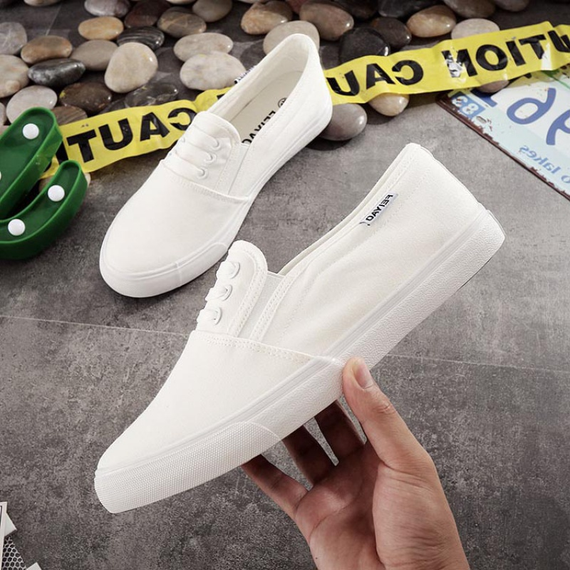 Ping. Shoeless mens casual cloth shoes, youth white canvas shoes, one foot low to help lazy people without lace up