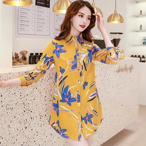 邂幕2020韩版秋季新款黄色印花中长款长袖外套百搭雪纺衬衫女上衣
