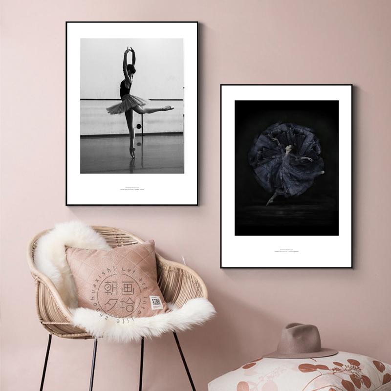芭蕾舞女孩舞者舞蹈室黑白墙壁画