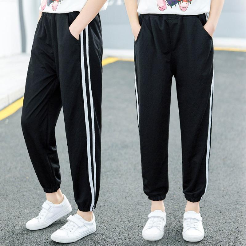 女童春秋黑色运动裤2021年新款洋气儿童裤子中大童夏季薄款防蚊裤