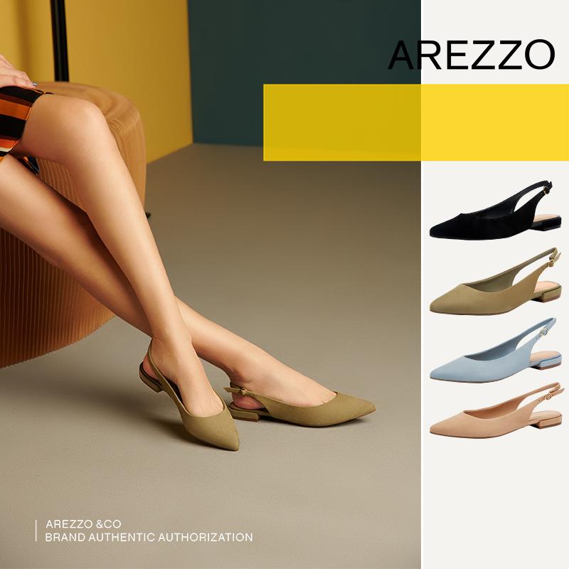 巴西AREZZO雅莉朶2019年夏季新款浅多色尖头绒面百搭休闲女单凉鞋,可领取20元天猫优惠券