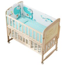 Baby bed solid wood lacquerless baby BB bed cradle bed multi-functional neonatal bed European small bed splicing big bed