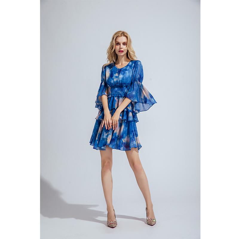 CCHUN希椿2020夏季新款雪纺连衣裙修身显瘦超仙多层次蛋糕裙裙子
