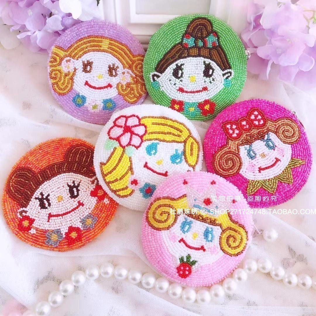 Rhododendron pearl embroidery new product original design handmade cartoon girl ugly doll round coin Beaded student pocket change