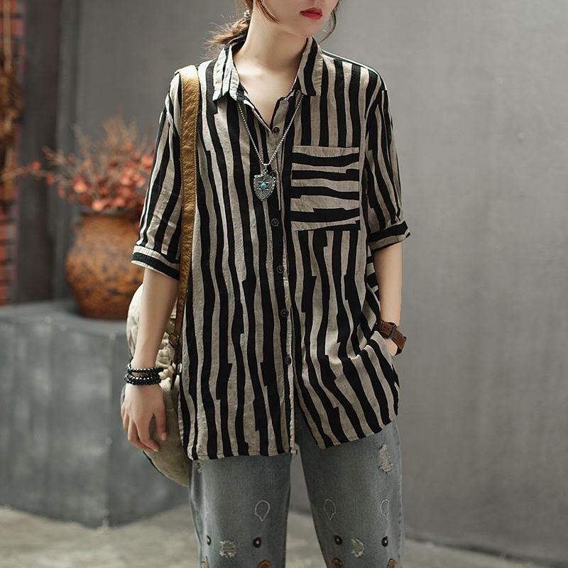 2020 summer Vintage Art stripe linen like shirt loose mix Lapel middle sleeve womens simple top light and thin