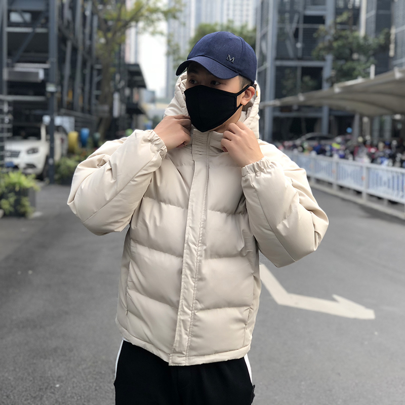 FKK 2019 winter mens and womens fashion brand simple solid color cotton clothes thickened loose couple bread clothes casual coat