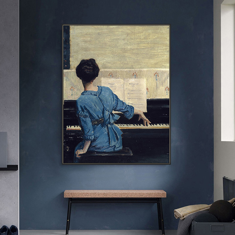 Looking for painting RETRO art living room decoration painting Impressionist William Merritt playing the piano girl study hanging painting